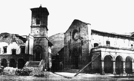 Norcia, 1859: Lesioni e crolli  nella chiesa di S. Benedetto e nel palazzo comunale