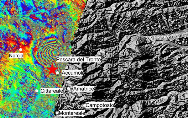 La mappa della zona del terremoto nel reatino ottenuta dai satelliti europei Sentinel, del programma Copernicus (fonte: Copernicus Sentinel data (2016)/ESA/ CNR-IREA)